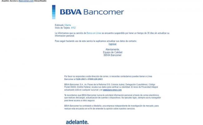 Alertan por nuevo correo apócrifo de Bancomer