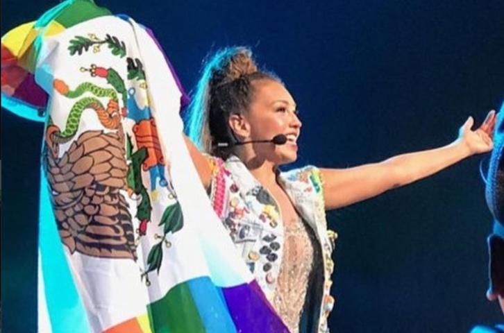 Thalía genera controversia al mostrar la bandera LGBT con el escudo nacional