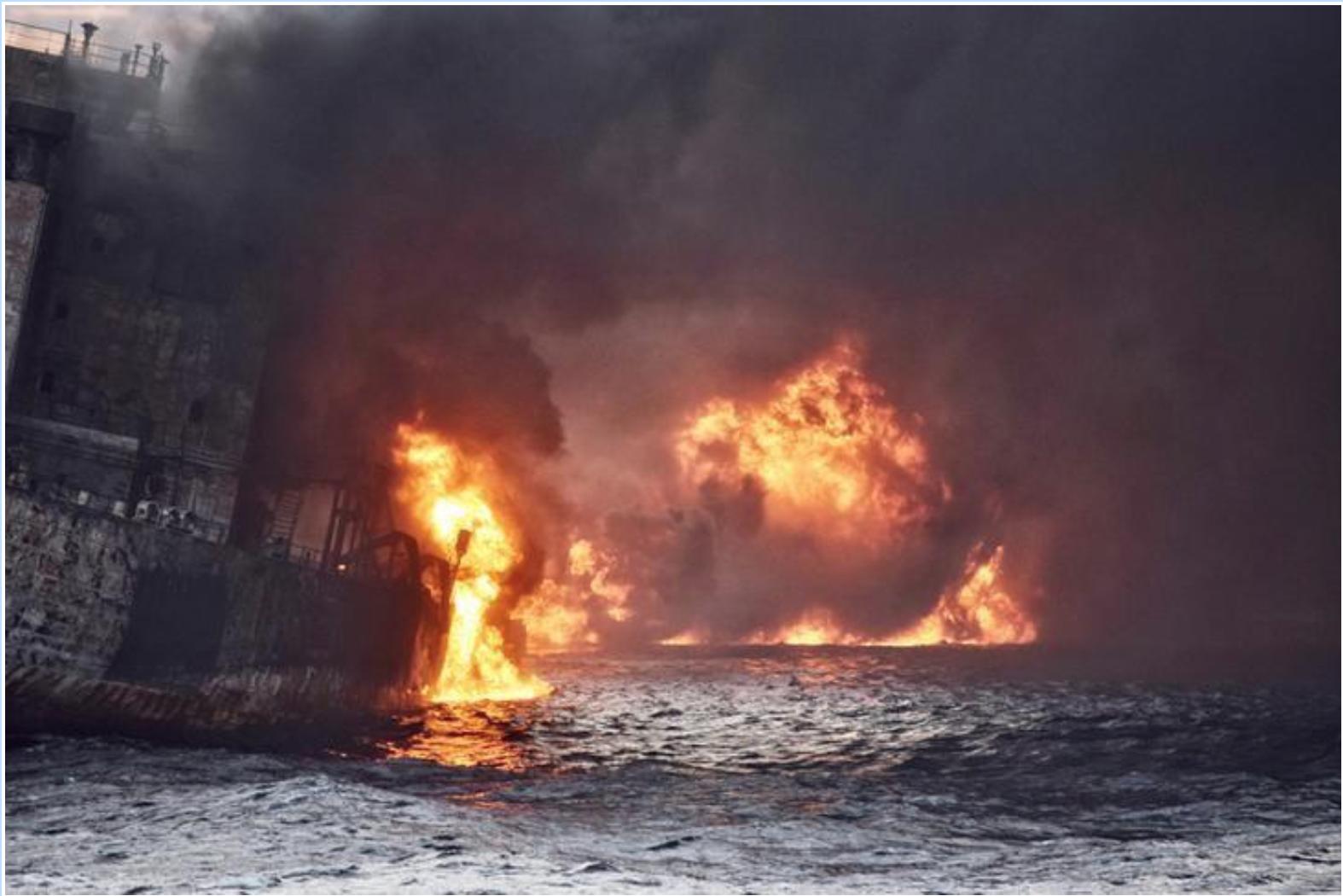 Tanquero iraní en llamas se hunde tras accidente: TV estatal china