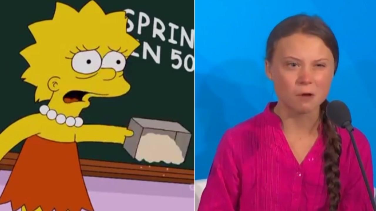 Fanáticos de la icónica serie de personajes amarillos creada por Matt Groening han descubierto un increíble parecido entre la enérgica y firme postura que comparten Lisa Simpson y la activista sueca Greta Thunberg